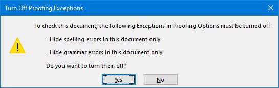 Turn Off Proofing Exceptions dialog box in Microsoft Word