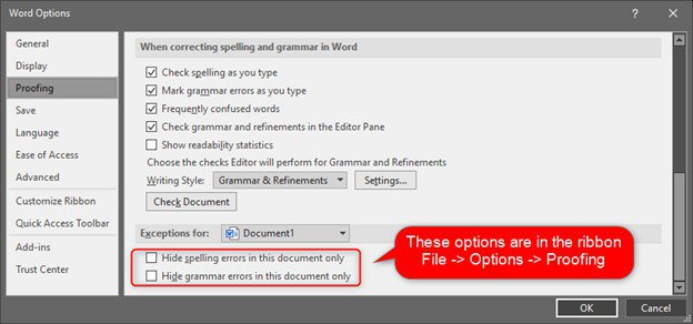 Microsoft Word Options accessed from the ribbon -> File -> Options -> Proofing