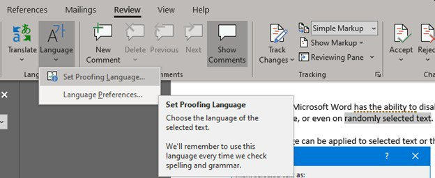 """Microsoft Word selected text language with option """"Do not check spelling or grammar"""". Access from the ribbon -> Review -> Language -> Set Proofing Language"""